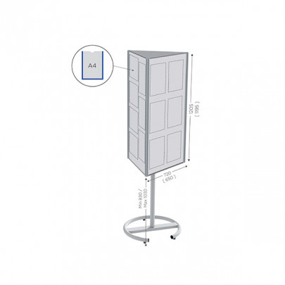 Rotating and magnetic display support   TOP'INFO 3 sided