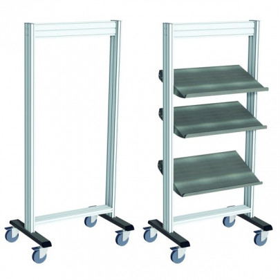Stainless steel Mobile tray-holder trolley | LEANPOST 650 INOX