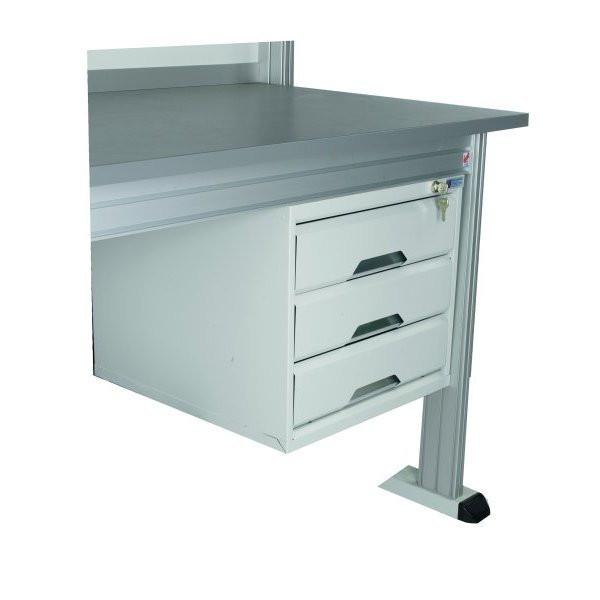 Housing with 3 lockable drawers