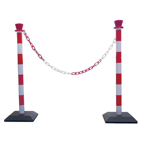 Posts red and white to mark out and secure | PVC posts