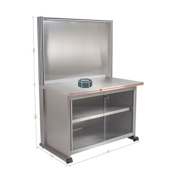 Stainless steel workstation with sink | QUALIPOST 3500D STAINLESS STEEL