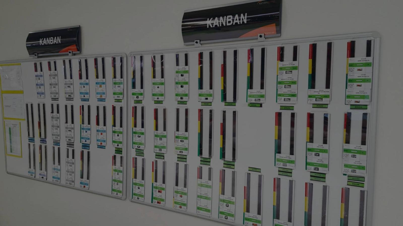 Tableau blanc avec carte Kanban